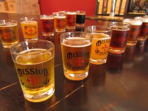 Mission Brewery flight of beer
