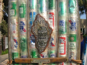 Enviro Surf Art - Beer Can Surf Board